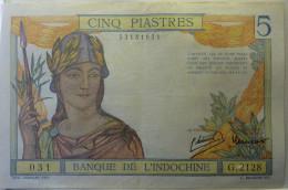 Cinq Piastres : Banque De L'indochine - Indocina