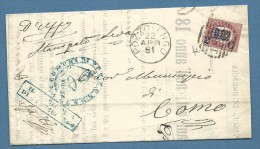 1881 POZZOLENGO  + BARRE  SU FRANCOBOLLO DI STATO SOPRASTAMPATO 2/0,02 - LETTERA COMPLETA  PER COMO - Marcophilie