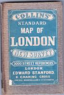 Ancien PLAN DE LONDRES  STANDARD MAP OF LONDON New Survey 3000 Street References - Europe
