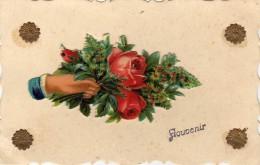 Carton Gauffré ( Bouquet) Sur Carte - Plus Petites Fleurs - Souvenir - Postales