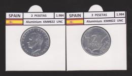 SPAIN /JUAN CARLOS I    2  PESETAS  1.984   Aluminium  KM#822   UNCIRCULATED  T-DL-9386 - [ 5] 1949-… : Koninkrijk