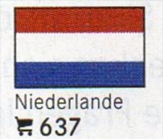 6 Coins+Flaggen-Sticker In Farbe Niederlande 4€ Kennzeichnung An Alben Karten/Sammlungen LINDNER #637 Flags Of Nederland - Netherlands