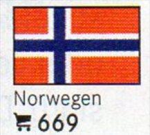 6 Coins + Flaggen-Sticker In Farbe Norwegen 4€ Zur Kennzeichnung Von Alben Karten/Sammlungen LINDNER #669 Flags Of NORGE - Norvège