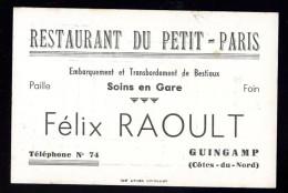 Carte De Visite Du Restaurant Du Petit Paris Felix Raoult Guingamp Embarquement Et Transbordement De Bestiaux BCH19 - Cartes De Visite