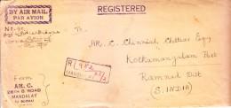 Burma 1951 Registered Airmail Cover To India - From Mandalay To Kothamangalam, Ramnad, India - Myanmar (Burma 1948-...)