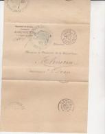 ALGERIE  -LETTRE DE FRANCHISE CAD ORAN 10 FEVRIER 1890 KARGUENTAH   TB - Algérie (1924-1962)
