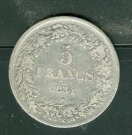 Leopold I - 5 Francs 1834 , Argent  ,  Pic2301 - 1831-1865: Leopold I
