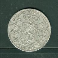 BELGIUM , Piece 5 FRANCS Argent , Silver ,  LEOPOLD II ROI , Année 1872  ,  Pic2401 - 09. 5 Francs