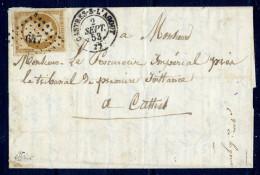 France N° 9 S/Lettre Obl. Pc 647 Signé JF Brun - Cote 1150 Euros - TB Qualité - 1852 Louis-Napoleon