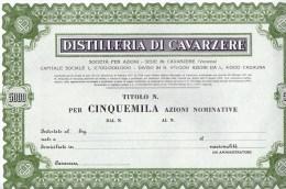 DISTILLERIA DI CAVARZERE-TITOLO PER CINQUEMILA AZIONI NOMINATIVE - Industrie