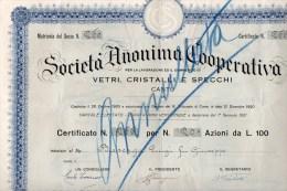 CANTU'-1-9-1921-SOCIETA´   ANONIMA COOPERATIVA-LAVORAZIONE VETRI-CRISTALLI-SPECCHI-C ERTIFICATO PER N.20 AZIONI - Industrie