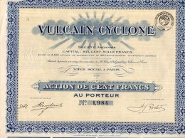 VULCAIN-CYCLONE-SOCIETE' ANONYME-ACTION DE CENT FRANCS-SIEGE' SOCIAL A' PARIS - Industrie
