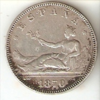 MONEDA DE ESPAÑA DE 2 PTAS DEL AÑO 1870 GOBIERNO PROVISIONAL ESTRELLAS PERFECTAS 18-74 (COIN) - [ 1] …-1931 : Reino