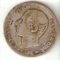 MONEDA DE ESPAÑA DE 2 PTAS DEL AÑO 1881 DE ALFONSO XII  (COIN) - [ 1] …-1931 : Reino