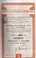 SOCIETA´ PER LA FILATURA DEI CASCAMI DI SETA-MILANO-CERTIFICATO N. 0967- DI  CINQUE  AZIONI - Textile