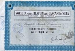 SOCIETA´ PER LA FILATURA DEI CASCAMI DI SETA-MILANO-CERTIFICATO N.06683 DI DIECI AZIONI - Textile