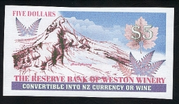 Weston Winery New Zealand. Wine Banknote- Reserve Bank Of Weston Winery - Banknotes