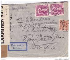 1943  Air Mail Double Censored Letter To USA  -Via England-  (Night Flight)  Rare S. Birgitta 120 Pair On Cove - Suède