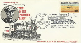 United States 1975 75th Anniversary Trip To The Promised Land, Souvenir Cover - Eisenbahnen