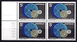 Australia 1969 International Labour 5c Marginal Block Of 4 MNH - 1966-79 Elizabeth II