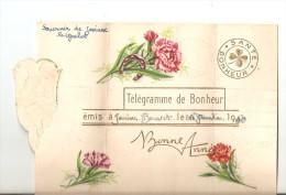 """Carte De Voeux/Télégramme De Bonheur/""""Bonne Année """"/Bouquet De Fleurs Fer A Cheval - Saisons & Fêtes"""