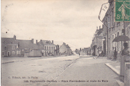 23060 FOULLETOURTE - Place Pierre Belon Et Route Du Mans. Ed Thibault La Fleche -femme Parapluie - Non Classés