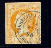 Año 1860 Edifil 52 4c Isabel II  Matasellos  Torrecilla De Cameros Logroño  Tipo II - 1850-68 Royaume: Isabelle II