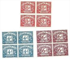 1968 - Gran Bretagna 68 + 70/71 Segnatasse - Quartina, - Tasse