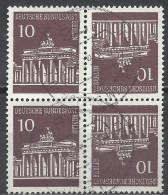 Deutschland Berlin 1966 Michel Nr. 286 Gestempelt, Brandenburger Tor Kehrdruck Viererblock K5 - Berlin (West)
