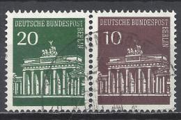 Berlin 1966 Michel Nr. W41, 287+286, Gestempelt, 20/10 Pfg. Brandenburger Tor, Waagerechtes Paar - Berlin (West)