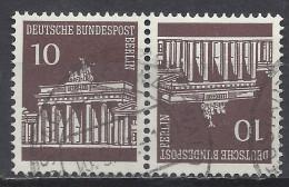 Berlin 1966 Michel Nr. K5, 286+286, Gestempelt, Brandenburger Tor Kehrdruck - Se-Tenant