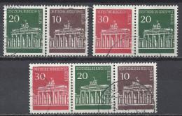 Berlin 1966 Michel W41, W42, W43, 288 287 286, Gestempelt, 30/20/10 Pfg. Brandenburger Tor,3 Verschiedene Zusammendrucke - Berlin (West)