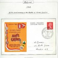 1969.CARD, 25th. ANNIVERSARY BATTLE OF MONTE  CASSINO EXHIBITION .LONDON - 1952-.... (Elizabeth II)