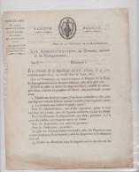 Arrêté De L'An 10, 14 Vendémiaire (1801) - Uniforme Des Préposés De L'Administration - Révolution Française - République - Historical Documents