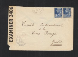 Lettre Algerie 1943 Oran Censure - Briefe U. Dokumente