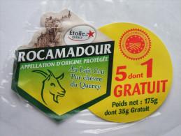 Etiquette Fromage Chèvre ROCAMADOUR Etoile Du Quercy 175g - 5 Dont 1 Gratuit - Fromage