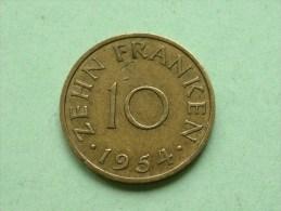 1954 - 10 / Zehn Franken / KM 1 ( Uncleaned Coin / For Grade, Please See Photo ) !! - [ 8] Saarland