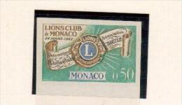 Raro Lions  Monaco 1963  Prova Colore 0.50 Senza Dentelli - Rotary, Lions Club