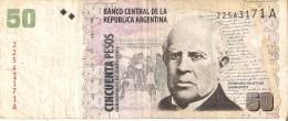 BILLETE DE ARGENTINA DE 50 PESOS CONVERTIBLES (BANKNOTE) DOMINGO FAUSTINO (RARO) - Argentina