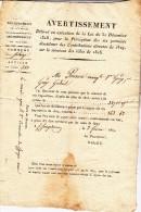 DEPARTEMENT DE L'ISERE -COMMUNE DE SOLAIZE - 1819- AVERTISSEMENT CONTRIBUTIONS DIRECTES - Decrees & Laws