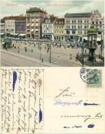 AK Magdeburg 1909, Kaiser Otto Denkmal, Stern Kaffee, Parade, Geschäfte - Magdeburg
