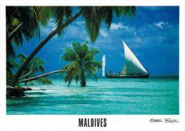 Dhoni Atoll Island, Maldives Postcard Used Posted To UK 2000s Gb Stamp - Maldives