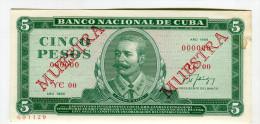 CUBA 5 PESO MUESTRA  1988 NEUF 22 - Cuba