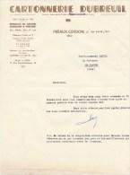 """01:  Préaux-Cerdon,  Facture """" Dubreuil """" Cartonnerie Dépot à Lyon 12 Rue Imbert-Colomès - Frankrijk"""