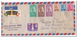 Nepal Envelope Registered Mail To Michigan U.S.A. With 75 Blue-green Stamp - Nepal