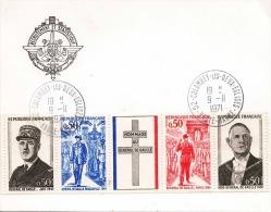 FRANKREICH 1971, 5 Fach Sondermarken Zusammenhängend Auf Karte Mit Wappen Recrutement Et Staitistique Nancy