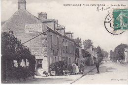 23120 SAINT MARTIN DE FONTENAY / Route De Caen - Ed Fresnel -café Fresnelm Publicite Dubonnet -convoyeur Caen Paris - Non Classés