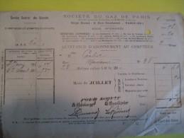 Quittance D'Abonnement Au Compteur/Société Du Gaz De Paris /1911    GEF2 - Electricity & Gas