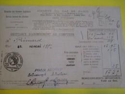 Quittance D´Abonnement Au Compteur/Société Du Gaz De Paris /1922    GEF5 - Electricity & Gas