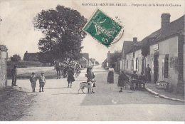 23126  MARVILLE MOUTIER BRULE Perspective De La Route De Chartres-ed Foucault Dreux -pub Moto Naphta Chien Café - France